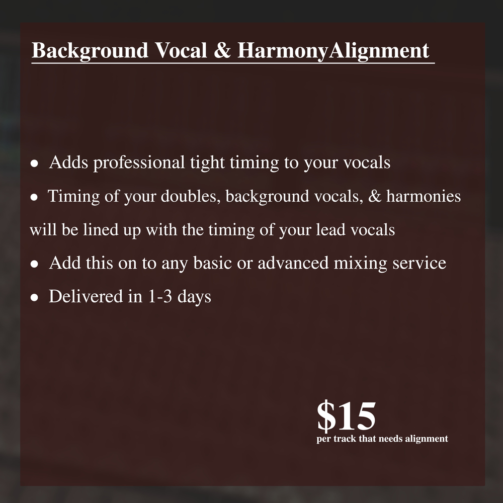 Background Vocal & Harmony Timing Alignment