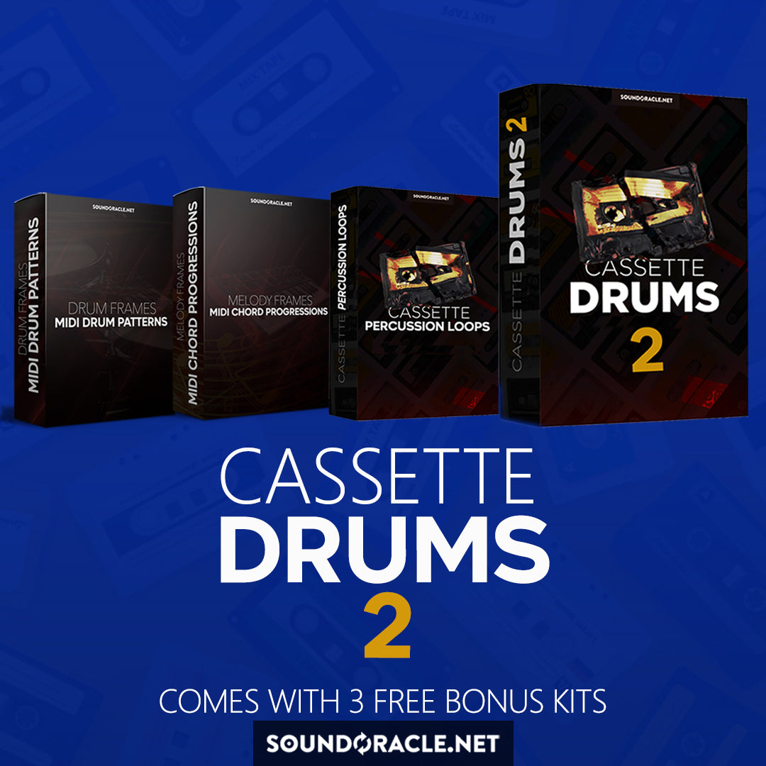 Cassette Drums 2 - Soundoracle Drum Sample Pack + Percussion Loops + Midi Chord Progression Pack