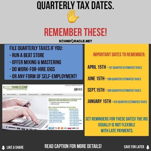 Quarterly Tax Dates Remember These Dates