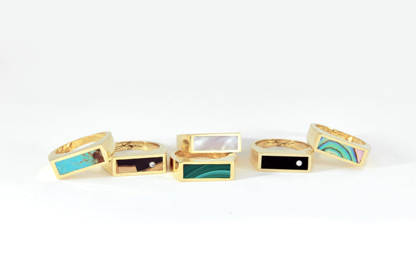 Legier Small Stone Signet Rings with Inlay
