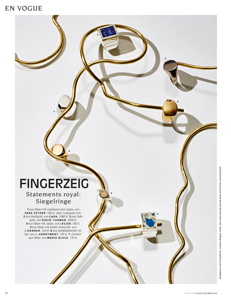 Legier Signet Rings featured in Vogue Germany October 2018