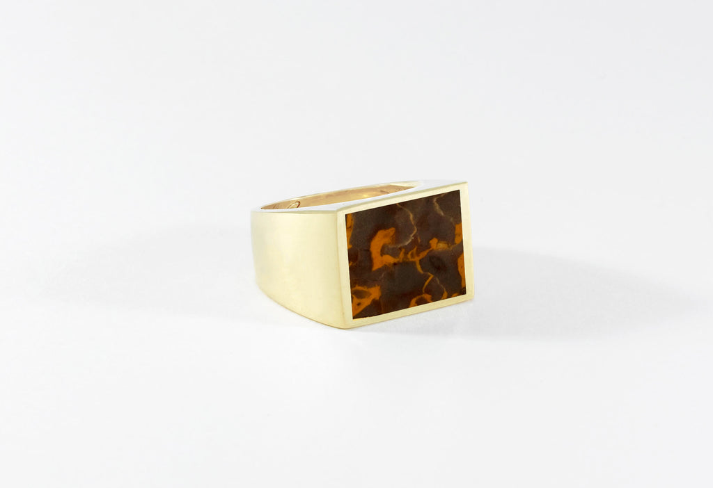 Legier Brown & Orange Jasper Stone Signet Ring