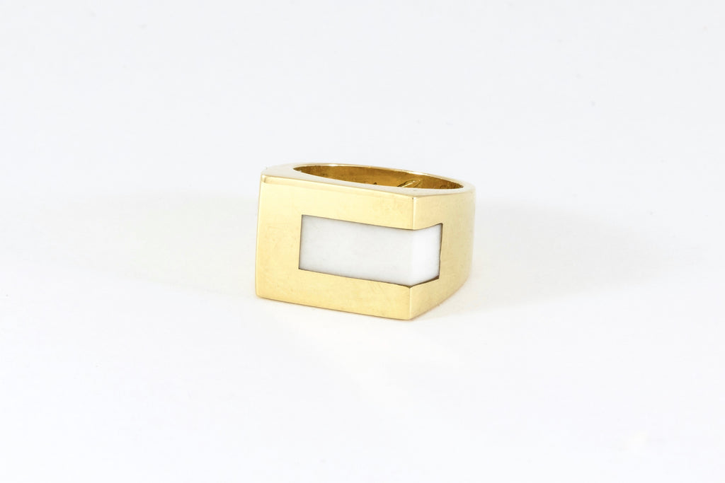 White Turquoise Stone Signet Strip Inlay