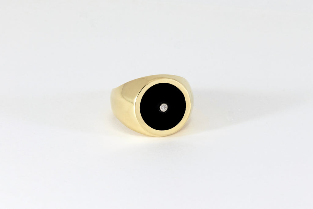 Legier Round Stone Signet Black Onyx Inlay with Diamond