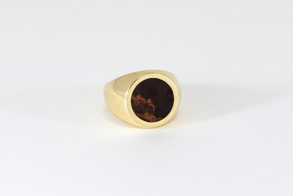 Brown & Orange Jasper  Round Stone Signet Ring Legier