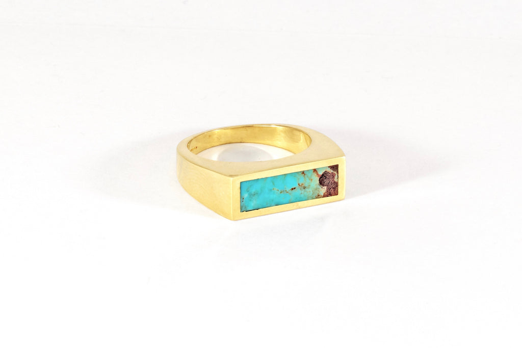Turquoise Stone Signet Ring - Small