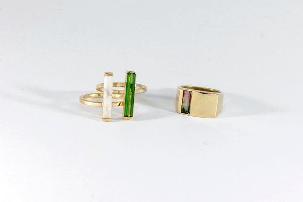 LVCS Watermelon Tourmaline Verical Cut Signet Ring