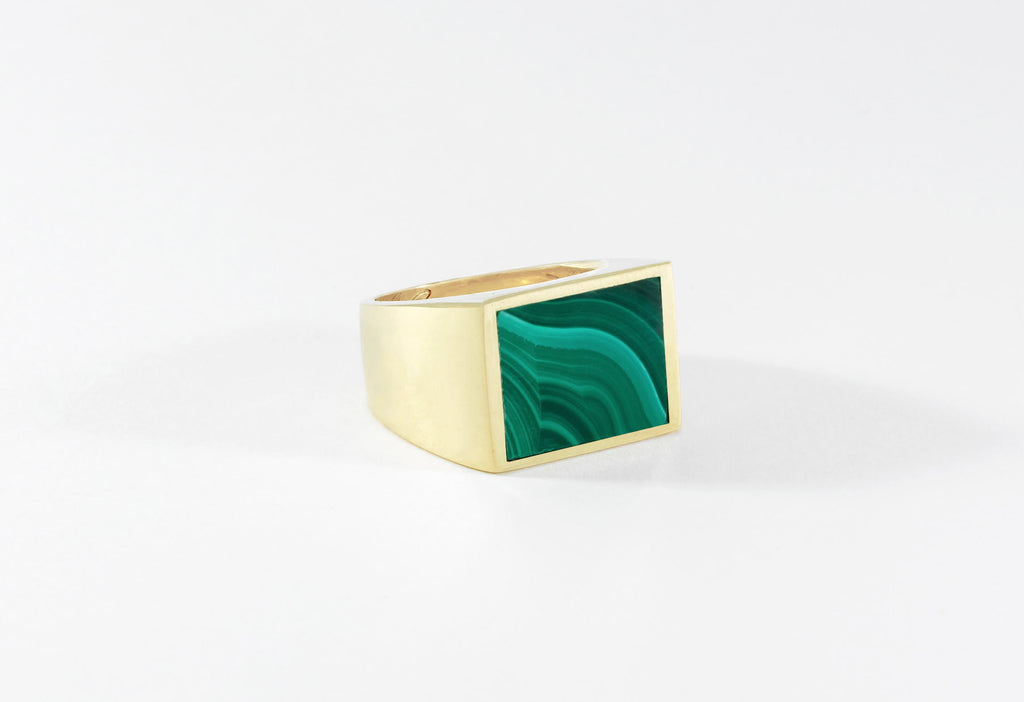 Legier Stone Signet Ring Malachite Brass
