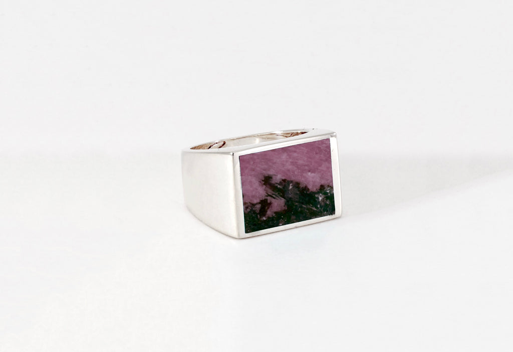 Legier Rubellite and Onyx Stone Signet Ring