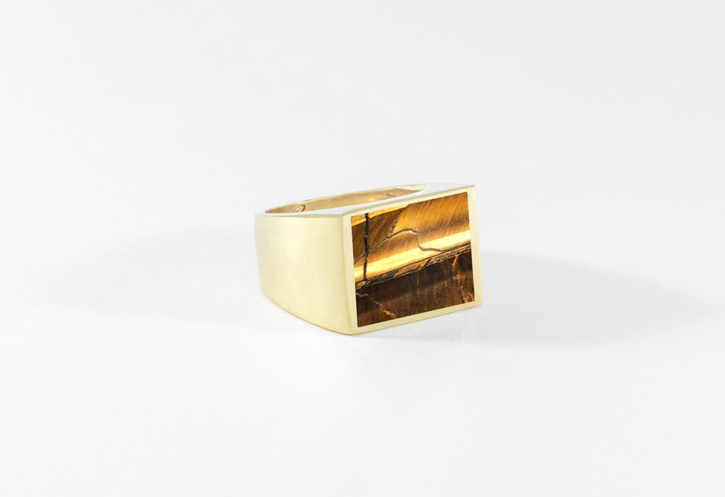 Legier Tiger's Eye Stone Signet Ring