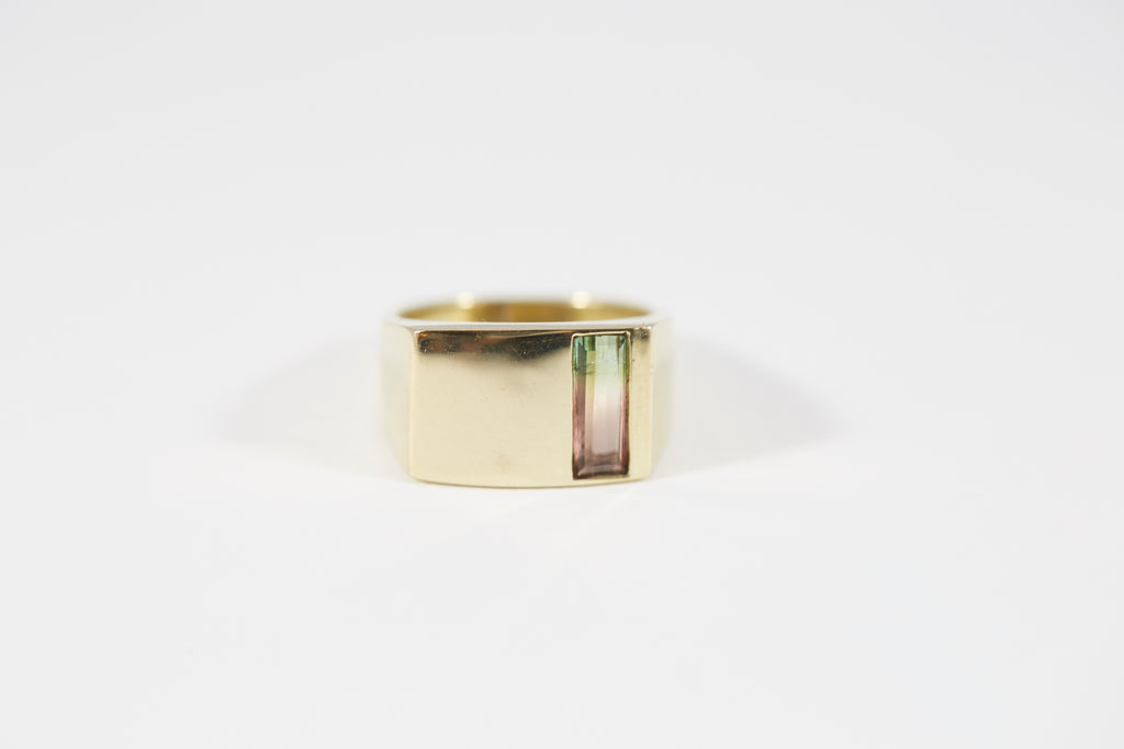 Legier LVCS Watermelon Tourmaline Verical Cut Signet Ring