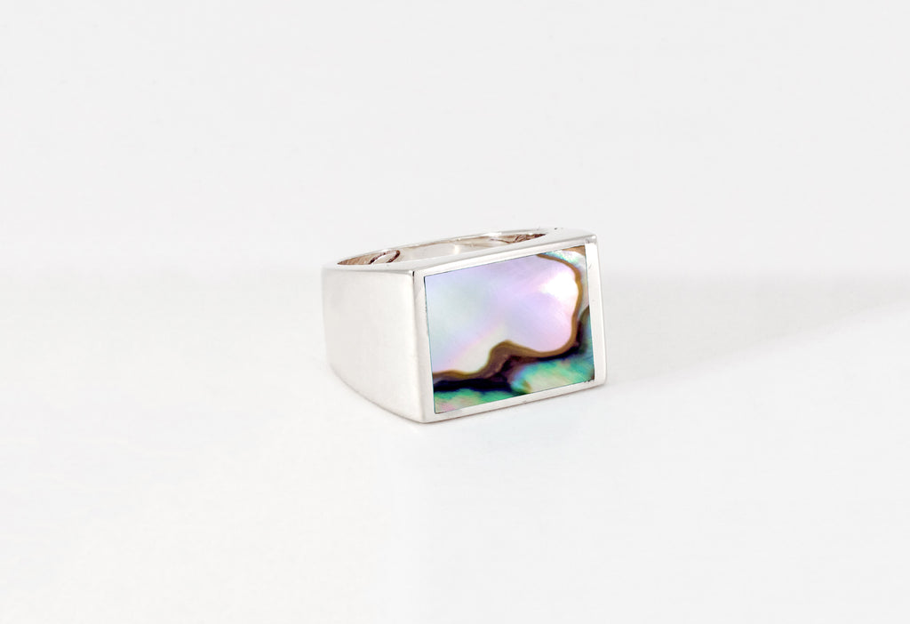 Legier Stone Signet Ring Abalone silver