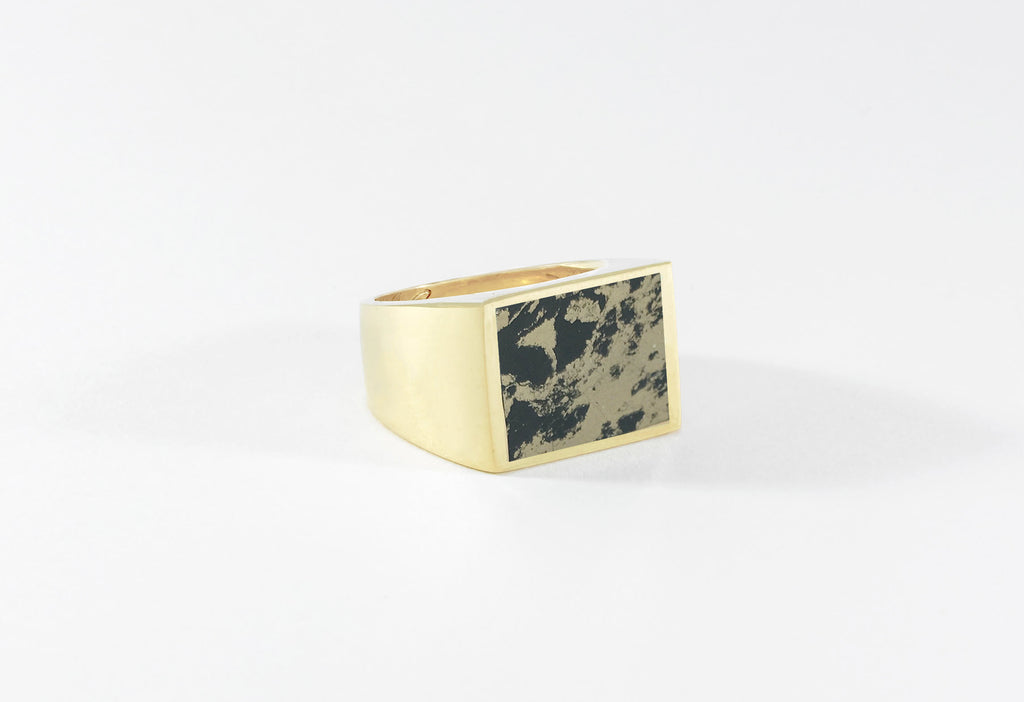 Legier Black & Gold Pyrite Stone Signet Ring
