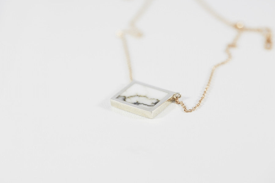 Horizontal Stone Signet Pendant Necklace