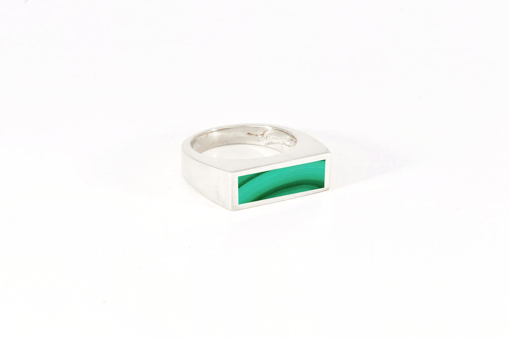 Legier Malachite Stone Signet Ring - Small silver