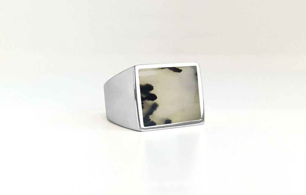 Moss Agate Stone Signet Ring