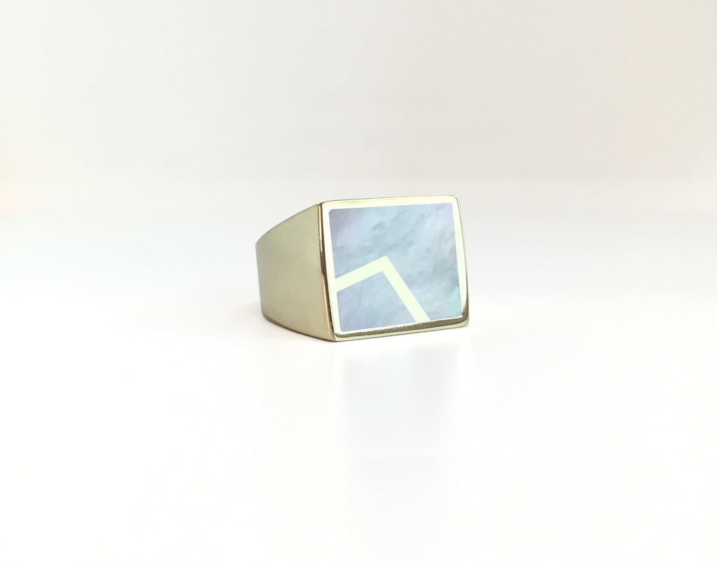 Stone Signet Ring with Metal Inlay