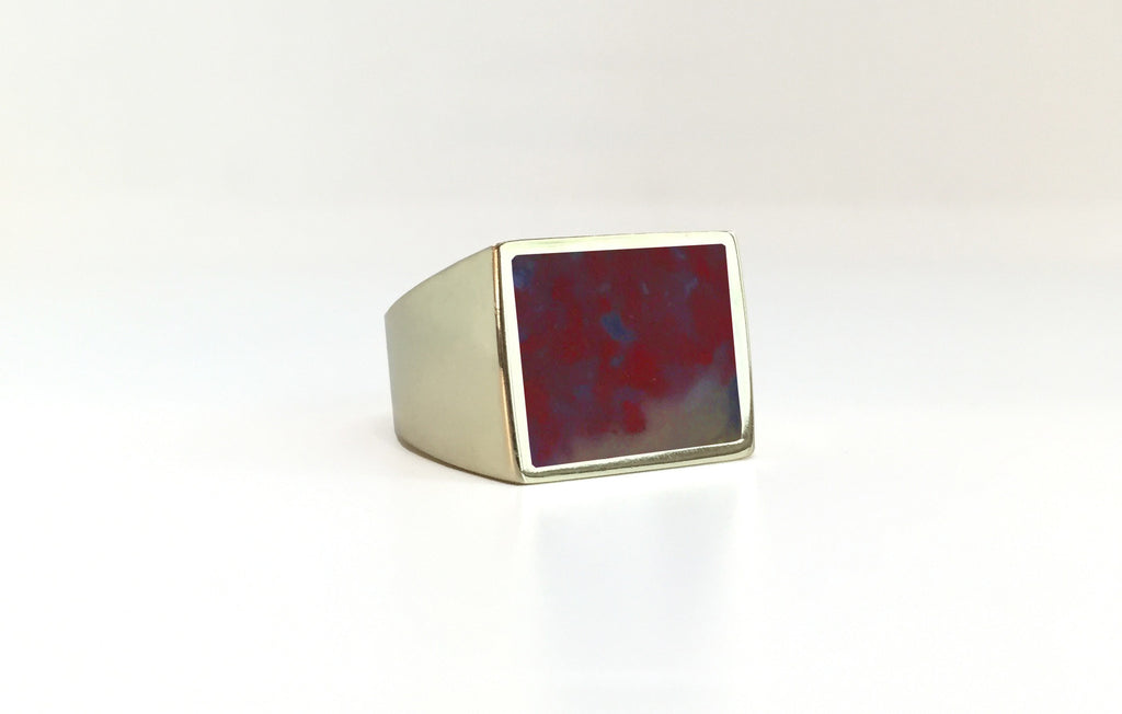 Red Plum Agate Stone Signet Ring brass