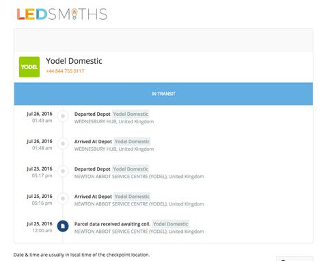 Example of the LEDSmiths personalised tracking email