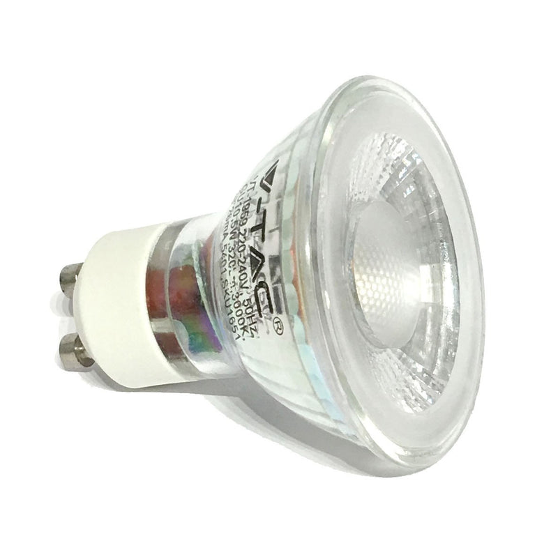 V-Tac 5W LED Glass GU10 Spotlight 38 Degree Non Dim - LEDSmiths.com - 2