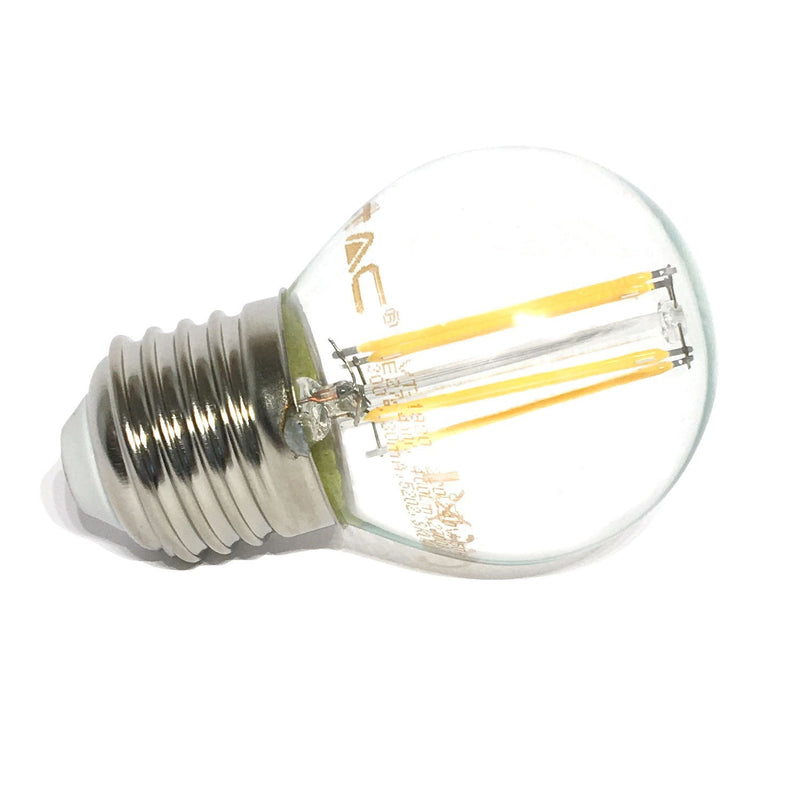 LED Golfball 4W ES/E27 Filament Bulb - 35W Equivalent - Warm White 2700K - Non Dim - LEDSmiths.com - 2