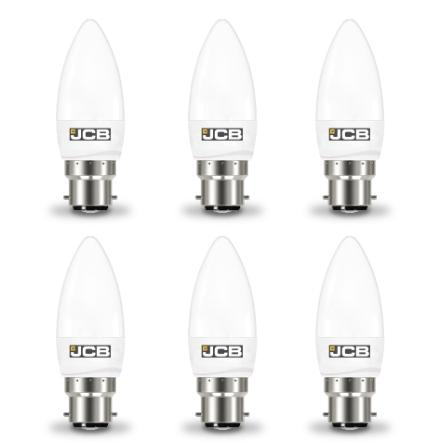 JCB 6W-40W LED Candle BC/B22d Non-Dim Warm White Pack of 6