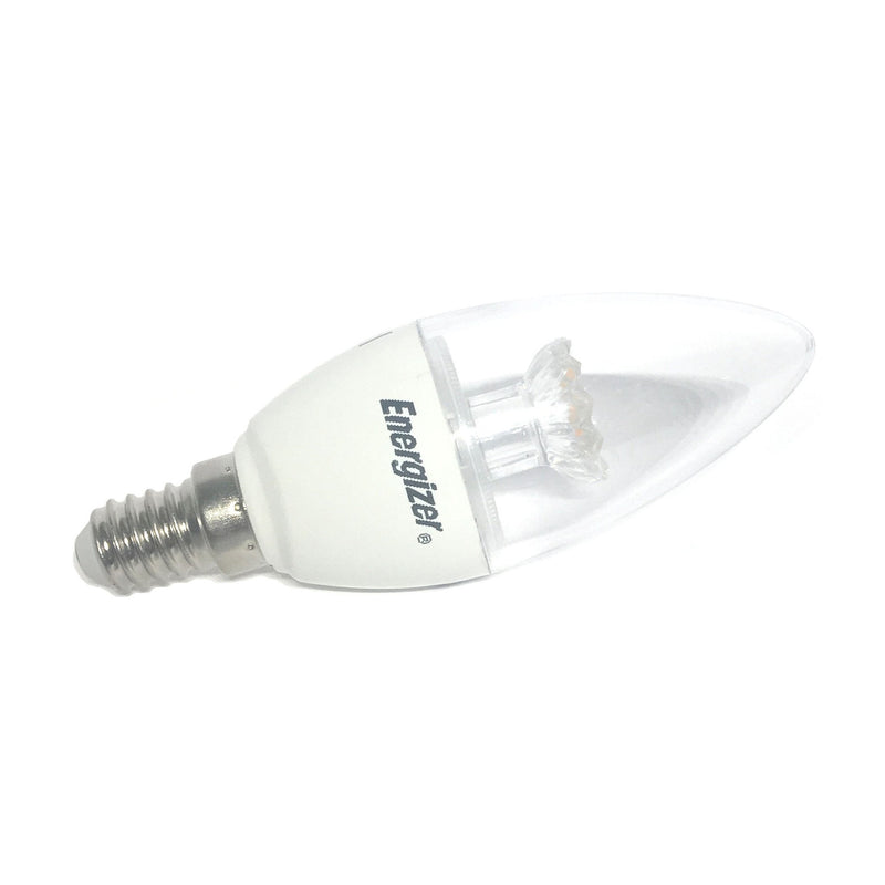 Energizer 6W-40W LED Clear Candle SES/E14 Warm White Bulb (Dimmable Available) - LEDSmiths.com - 2