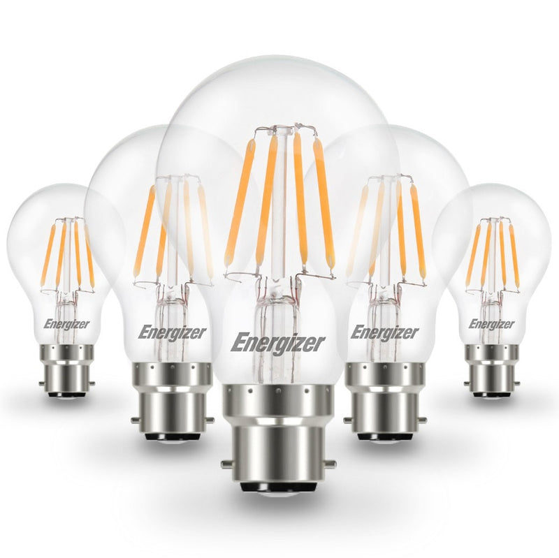 Energizer 6W LED GLS BC/B22d Filament Lamp Pack of 5 - LEDSmiths.com