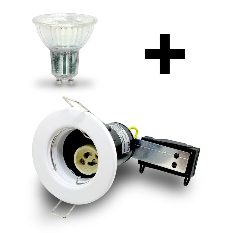 White GU10 Fire Rated Downlight Kit with Bulb Included