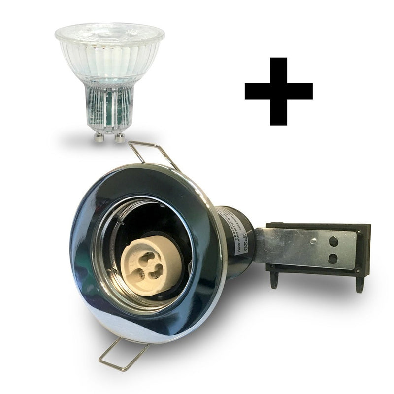 Chrome GU10 Fire Rated Downlight Kit with Bulb Included