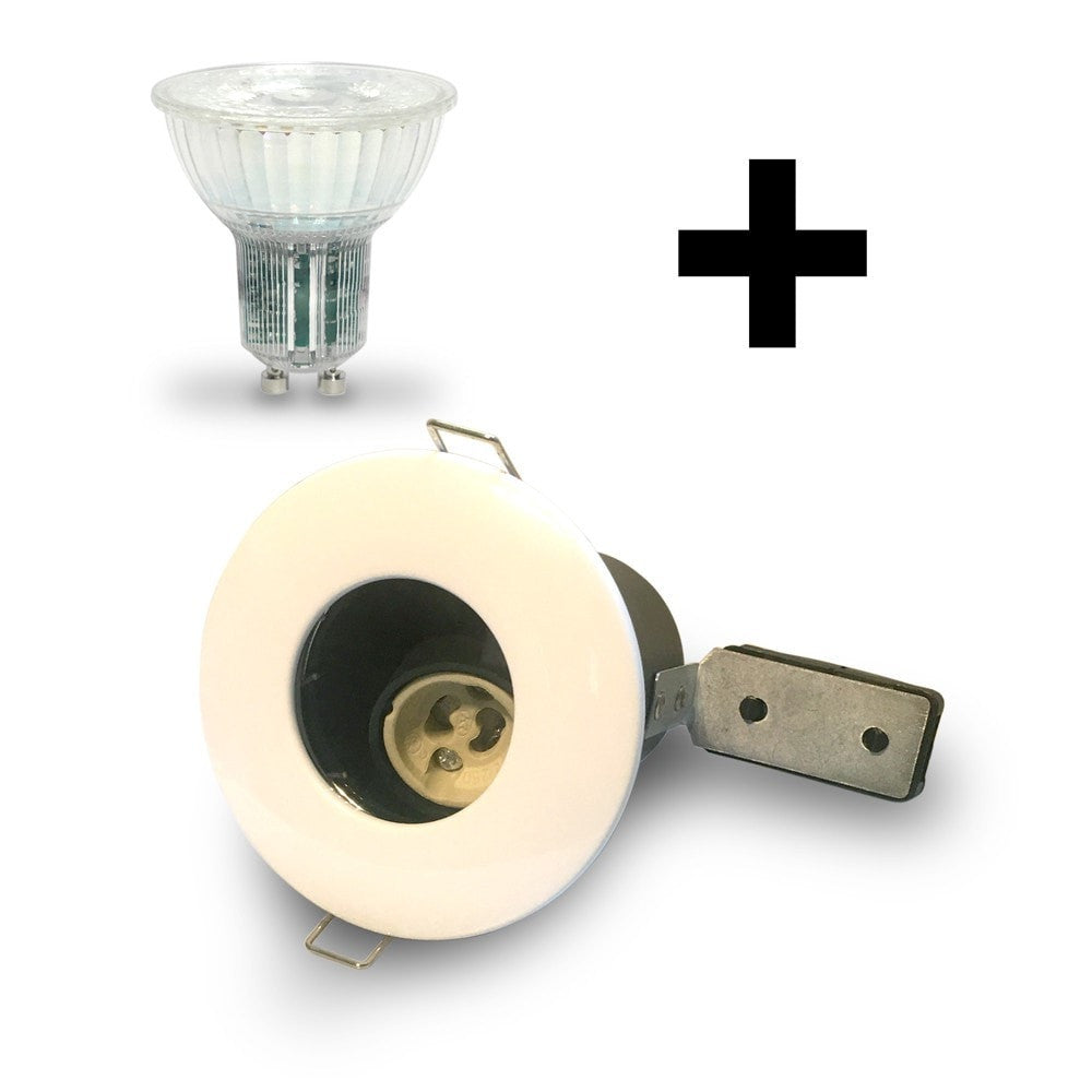 White IP65 Fire Rated Downlight GU10 Fitting Kit with LED GU10 Bulb Included