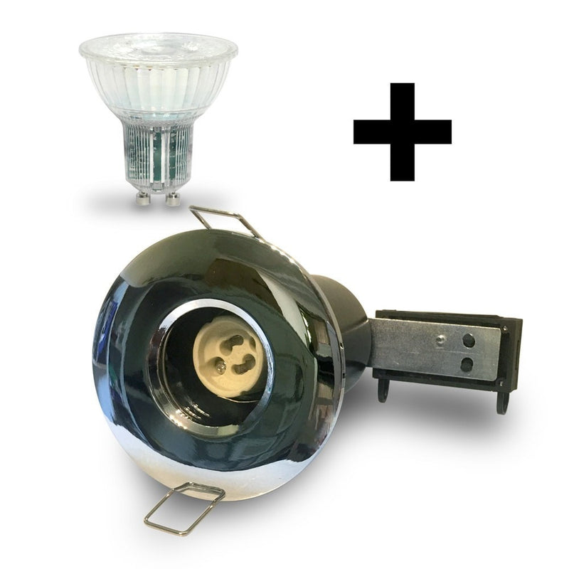 Chrome IP65 Fire Rated Downlight GU10 Fitting Kit with LED GU10 Bulb Included