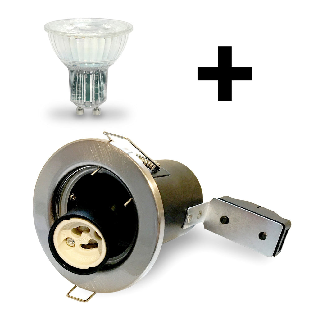 Brushed Nickel GU10 Fire Rated Downlight Kit with Bulb Included - LEDSmiths.com
