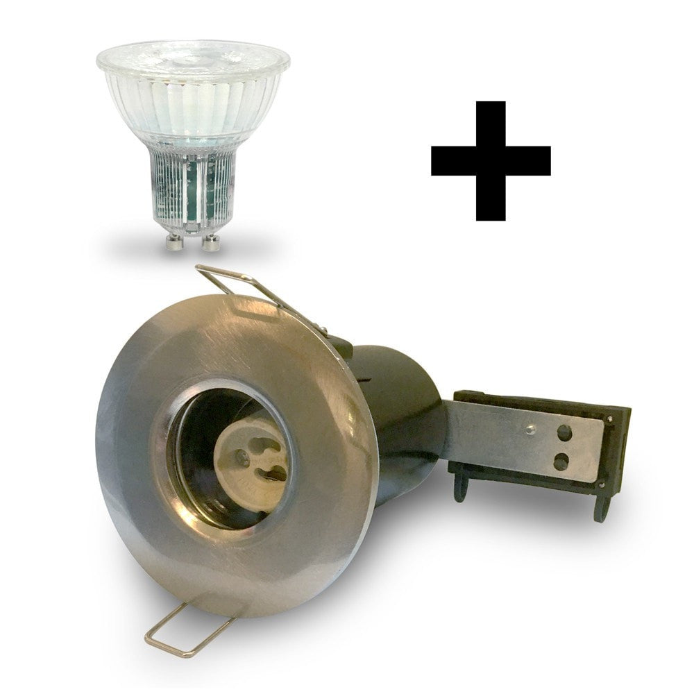 Brushed Nickel GU10 IP65 Fire Rated Downlight Kit with Bulb Included