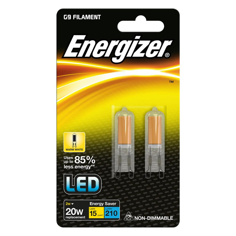 Energizer G9 2W-20W LED Filament Non-Dim Bulb Warm White (Pack of 2)