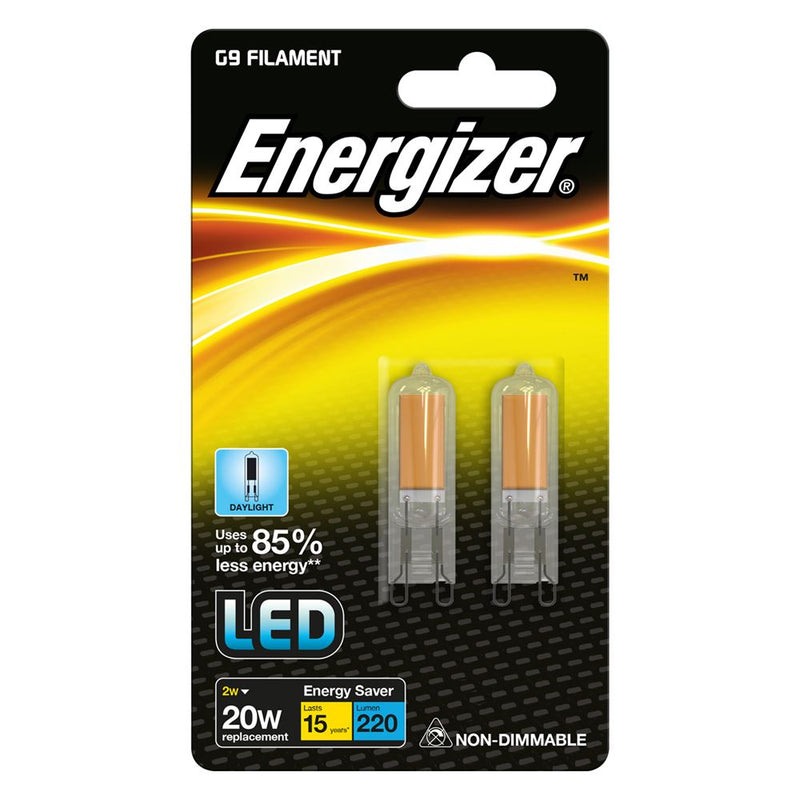 Energizer G9 2W-20W LED Filament Non-Dim Bulb Daylight (Pack of 2)