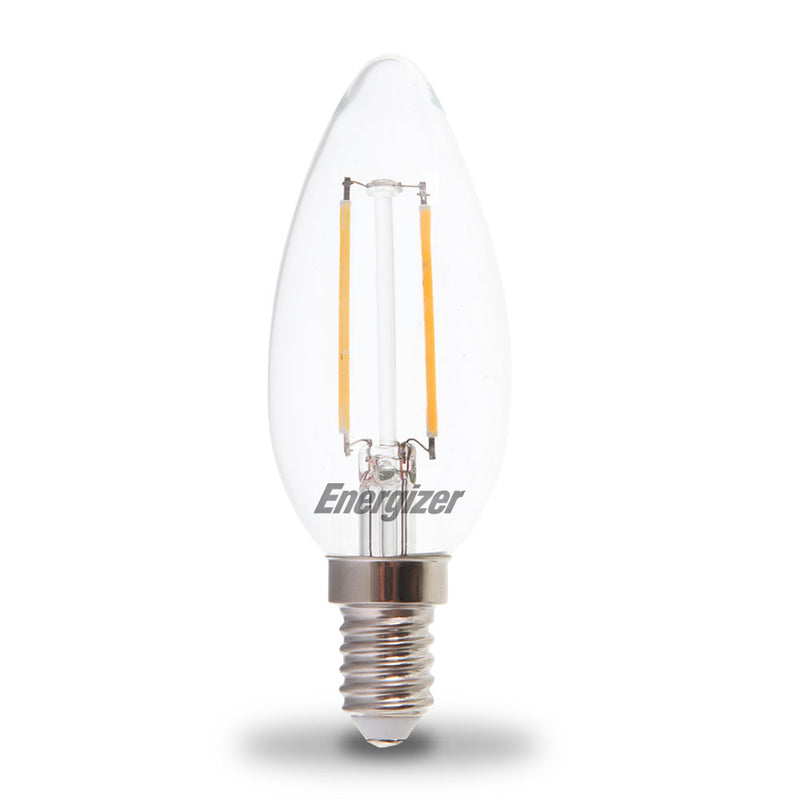 Energizer 2.4W-25W LED Candle SES/E14 Filament Non-Dim Light Bulbs