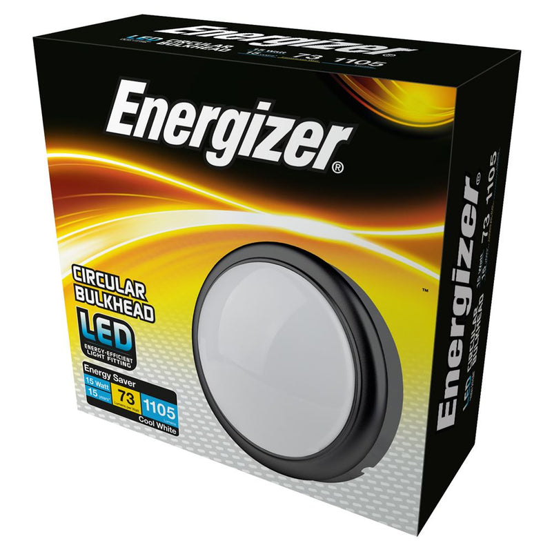 Energizer 15W IP54 Round LED Cool White Bulkhead