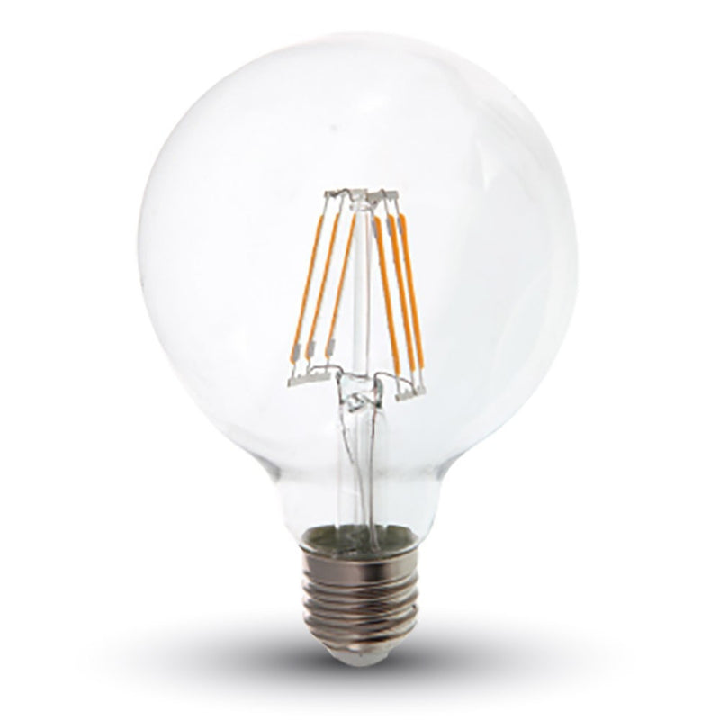 LED Globe G95 6W ES/E27 Filament Lamp - 40W Equivalent - Warm White 2700K - Non Dim - LEDSmiths.com - 1