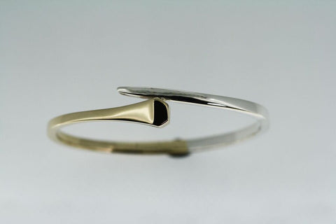 Horse Shoe Nail Bangle - 2 Tone. Gold and Silver