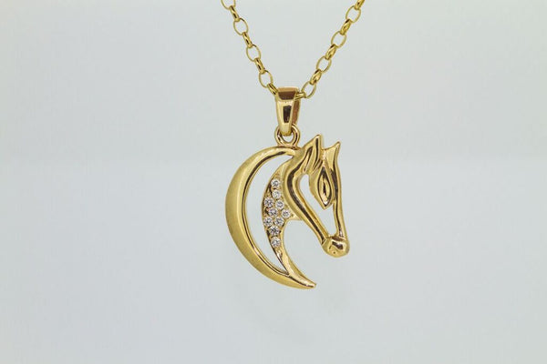 Horse Head Pendant - 9ct Gold - Diamonds