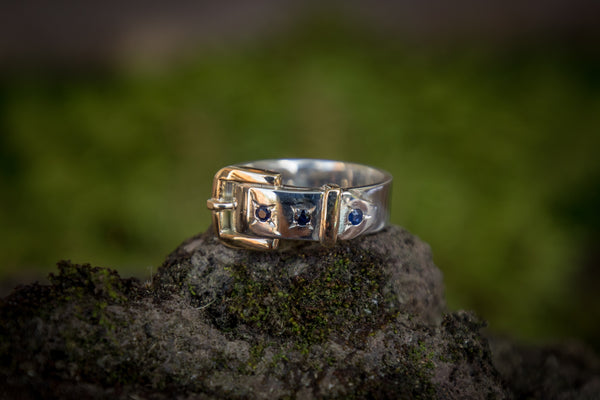 Buckle Ring - Gold 2 Tone with Sapphires