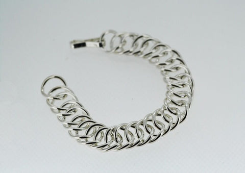 Handmade Curb Chain Bracelet in Solid Sterling Silver