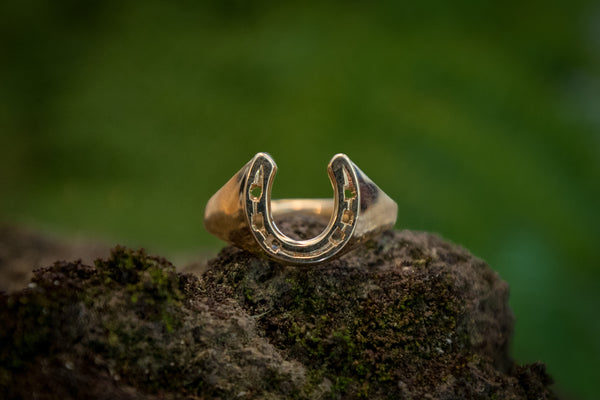 Horse Shoe Ring - 9ct Gold - Solid Shank