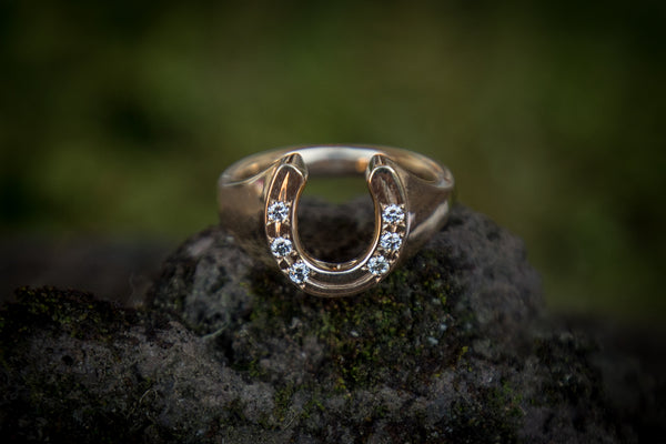 Horse Shoe Ring - 9ct Gold Diamonds - Solid
