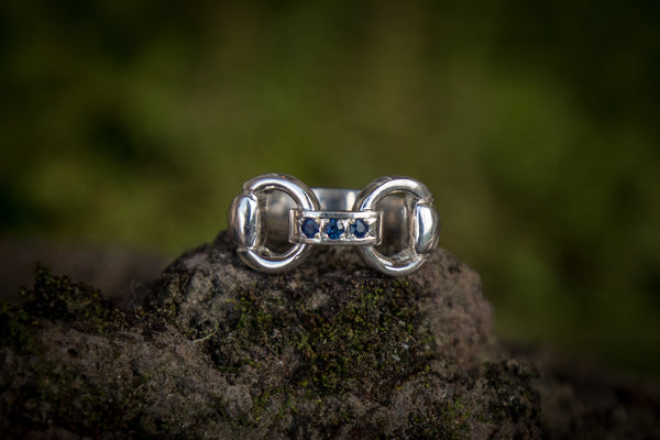 Snaffle Bit Link Ring - Sapphires