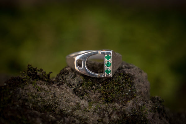 Stirrup Ring Emeralds
