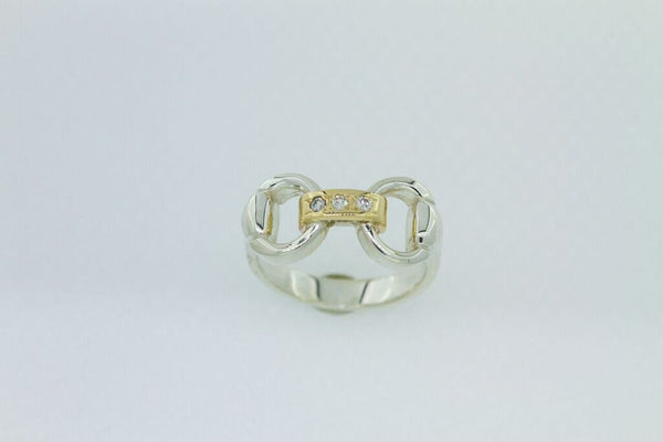 Snaffle Bit Link Ring - Gold with Diamonds