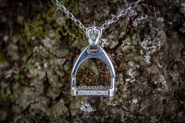Small Stirrup Pendant - Diamonds