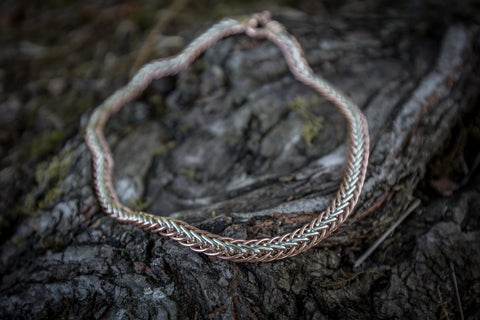 Celtic Weave necklace - Handmade 9ct Rose and white gold 45cms